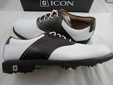 Footjoy Myjoys Icon Traditional Golf Shoes 52010 White Dark Brown 11.5 M