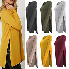 Womens Asymmetric Split Dress Long Sleeve Tunic Top Jumper Pullover Loose Blouse