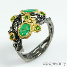 Lovely green art Emerald 925 Sterling Silver Ring Size 9/R72496