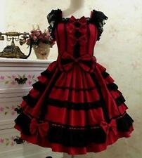 Women Lady Vintage Punk Gothic Lolita Dress Lace Sweet Cosplay Dress Costume#d
