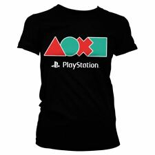Ladies Official PlayStation Controller Button Icons Fitted Tee - Retro T-Shirts