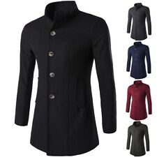 New Fashion Men's Autumn Winter Slim Fit Buttons Trench Coat Outwear Blazer Tops