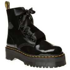 New Womens Dr. Martens Black Molly Patent Leather Boots Ankle Lace Up