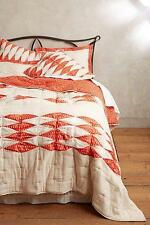 NWT Anthropologie Dotted Ikat Quilt Queen Size Coral Free Shipping