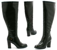 WOMENS LADIES BLACK PATENT MID HEEL BOOTS LADIES ZIP UP SHOES SIZE 3 4 5 6 7 8
