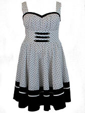 Plus Size White Black Polka Dot Flirty Retro Pinup Rockabilly Dress 1X 2X 3X 4X