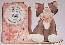 Handmade Greeting Card & Matching Envelope 3D All Occasion With A Cat