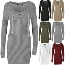 Womens Ladies Lace Up V Neck Pencil Fitted Elastic Rib Knit Bodycon Mini Dress