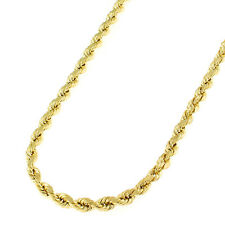 10k Yellow Gold 3mm Solid Rope Diamond-cut Chain Necklace