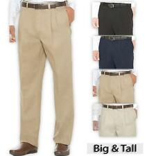 Big Men's Casual Pants Expandable Waist 46 - 60 PLEATED Savane by Perry Ellis