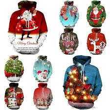 Christmas 3D Graphic Winter Thick Mens Womens Pullover Sweatshirt Jumper Hoodie