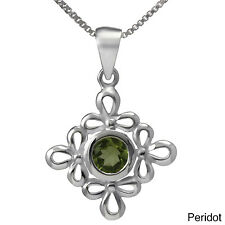 Sterling Silver Floral Gemstone Necklace (Thailand)