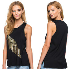 Comfortable Crew Neck Loose Feather Pattern Printed Sleeveless Tank Top Vest
