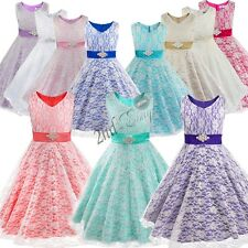 Flower Girl Princess Pageant Wedding Party Formal Birthday Kids Tulle Gown Dress