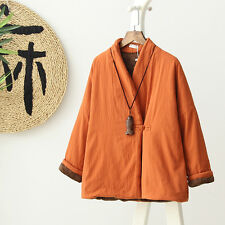 Women Witner Quilted Coat Cotton Padded Jacket Fleece Lined Chinese Folk Outwear