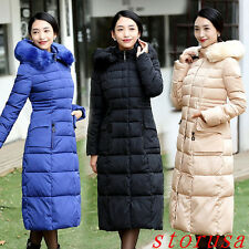 Size 4XL Winter warm lady Parka long Fur Collar Hooded Down Coat Quilted Jacket