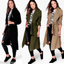 Womens Slim Fit Windbreaker Belted Long Trench Coat Jacket Overcoat Outwear New