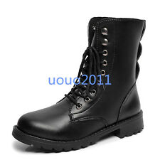 Vintage Womens Combat Army Punk Goth Ankle Shoes Flats Biker Lace Up Boots Sz#n