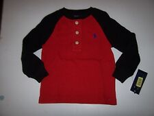 New Polo Ralph Lauren red black thermal Henley long sleeve shirt boys sz 2T 2 T