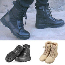 Men Comfort Leather Lace Up Army Combat Military Ankle Boots Work Shoes Trainers