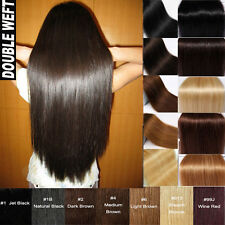 160g+ Thick Double Weft Full Head Clip In Real Remy Human Hair Extension US U654