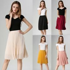Women Ladies Fashion Retro Chiffon Elastic Waist Solid Pleated Midi Skirt Dress