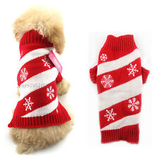 Christmas Puppy Pet Cat Dog Sweater Warm Knitwear Coat Apparel Clothes Snowflake