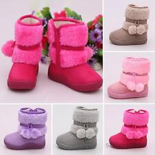 New Baby Girls Toddler Winter Warm Thicken Zip Up Snow Boots Kids Fur Faux Shoes