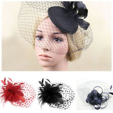 Flower Mini Hat Hair Fascinator Flower Feather Corsage Clip Headband Wedding
