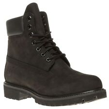 New Mens Timberland Black 6` Premium Nubuck Boots Lace Up