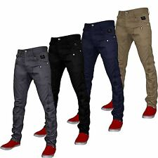 MENS CROSSHATCH CHINOS JEANS DESIGNER TWISTED LEG REGULAR FIT TAPERED TROUSERS