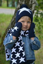 Boys Knitted Hat Scarf and Glove Set Winter Navy