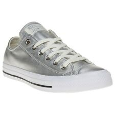 New Womens Converse Metallic Grey All Star Ox Leather Trainers Canvas Lace Up