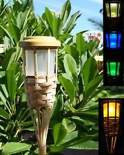 2 Solar Bamboo Tiki Torch Landscape Lights 5 LEDs Amber Flickering or Colors