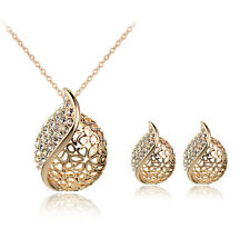 Trendy Leaves Pendant Elegant Women Sweater Chain Necklace Earring Jewelry Sets
