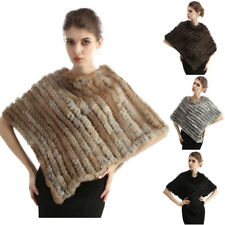 Women Real Rabbit Fur Shawl Poncho Cape Scarf Outerwear Knitted one size 4 Color