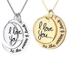 I love You To The Moon & Back Gold Silver Necklace Chain Pendant Engraved Gift