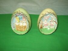 2 Vintage Ceramic Easter Eggs with Rabbits Bunnies & Chicks - Hand Painted