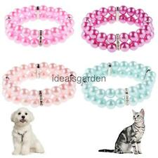 Artificial Pearl Dog Cat Necklace Grooming Jewelry 2 Rows Collar 4 Colors S-L