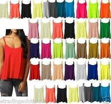 Womens Ladies Cami Sleeveless Swing Vest Top Strappy Plain Flared Plus Size-cmis