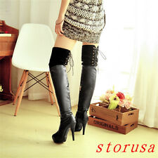 Sexy Women Lady Stiletto Heel Over Knee High Boots Platform Lace Up Dancing New