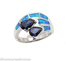 Tanzanite & Blue Fire Opal Inlay Solid 925 Sterling Silver Ring size 6,7,8,9