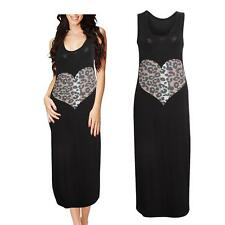 Womens Ladies Leopard Heart Print Muscle Back Racer Jersey Racer Maxi Dress 8-14