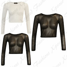 Ladies Sexy Mesh Net Sheer Extra Long Sleeve Party Goth Rock Stretch Crop Top