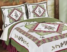 Pinecone Forest Quilt Set Pillow Sham King Queen Full Twin Reversible Bedding