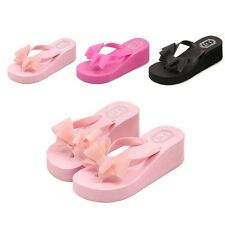 Summer Fashion Female Thick High-heeled Platform Flip-flops Sandals Slippers F5
