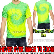 Mens 100% Cotton Fluorescent Tie-Dye T-Shirt Adult Tye Die Tee S, M, L, XL NEW!