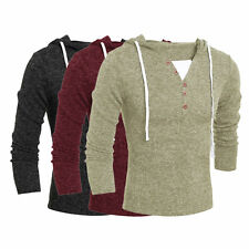 Men Fashion Casual V Neck Long Sleeve Solid Slim Knitting Male Hooded Sweater F5