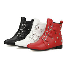 Fashion Women Pointy Toe Ankle Bootie Boots Buckle Belt Flat Heel Casual Shoes