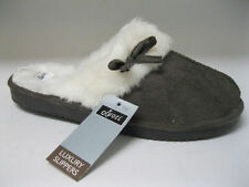 JYOTI Ladies Brown Full Fur Lined Mule Slippers with Bow. Perfect for CHRISTMAS